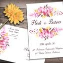 Esküvői meghívó különleges borítékban - pink sárga virágok, Esküvő, Naptár, képeslap, album, Meghívó, ültetőkártya, köszönőajándék, Képeslap, levélpapír, Vibráló színek: pink és sárga virágok és ágak díszítik ezt a meghívót. Vidám, színpompás, és nagyon ..., Meska