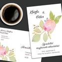 Esküvői meghívó különleges borítékban - arany vonalakkal rajzolt, Esküvő, Naptár, képeslap, album, Meghívó, ültetőkártya, köszönőajándék, Képeslap, levélpapír, A mostanában divatos line art stílusban rajzolt, arany vonalas virágok akvarell foltokkal tarkítva. ..., Meska