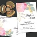 Esküvői meghívó különleges borítékban - arany vonalakkal rajzolt