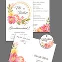 Esküvői meghívó szett pasztell virágokkal, A szett tartalma: Kétoldalas meghívó 10 x 15 cm...