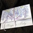 Esküvői meghívó lila akáccal különleges borítékban