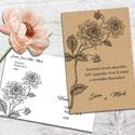 Esküvői meghívó borítékban, vintage virágos rajzzal