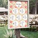 Ülésrend esküvőre - tapéta jellegű mintával, Esküvő, Dekoráció, Esküvői dekoráció, Meghívó, ültetőkártya, köszönőajándék, Bármilyen egyedi feliratot, táblát megrendelhetsz nálam, bármilyen méretben, az általad kért grafiká..., Meska