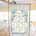 Ülésrend esküvőre - tapéta jellegű kékes mintával, Esküvő, Dekoráció, Esküvői dekoráció, Meghívó, ültetőkártya, köszönőajándék, Bármilyen egyedi feliratot, táblát megrendelhetsz nálam, bármilyen méretben, az általad kért grafiká..., Meska