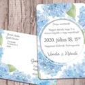 Esküvői meghívó különleges borítékban kék hortenzia mintával, Esküvő, Naptár, képeslap, album, Meghívó, ültetőkártya, köszönőajándék, Képeslap, levélpapír, A meghívót kék színű, akvarell hortenziák díszítik. A képek között többféle variációt is bemutatok, ..., Meska