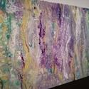 hullám, Képzőművészet, Otthon, lakberendezés, Festmény, Akril, Festészet, 30x50-es feszített vászonra , pouring medium használatával folyatásos technikával, kézzel készült a..., Meska