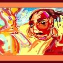 """"""" Strandon """", Képzőművészet, Dekoráció, Festmény, Grafika, Festészet, Saját készítésű számítógépes festmény fa-kerettel ,szignózva, sorszámozva, eredetiség tanúsítvánnya..., Meska"""