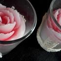 Csipkerózsa mécses, Otthon, lakberendezés, Esküvő, Dekoráció, Gyertya, mécses, gyertyatartó, Gyertya-, mécseskészítés, Mindenmás, Rózsaszín-fehér, rózsa formájú mécsesnek az üvegére ragasztottam natúr színű csipkéket.  Ajánlom de..., Meska