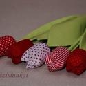 Textil tulipán, Dekoráció, Dísz, Varrás, Pamutvászonból készült, különlegesen tartós, öntözést nem igénylő díszvirág. :-) Mérete: fej 6 cm, ..., Meska