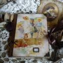 csodás vintage hangulatú napló, Naptár, képeslap, album, Jegyzetfüzet, napló, Rendelésre készítettem egy noteszt melyre vintage képet kértek. A5- ös méretben szép rusztik..., Meska