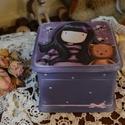 Kislány doboz emlékeknek, ékszernek , Ékszer, óra, Dekoráció, Baba-mama-gyerek, Ékszertartó, Decoupage, transzfer és szalvétatechnika, Cuki koptatott macis ékszeres , emlékes kis doboz, kislányoknak, vagy gyermeklelkűeknek :) maci raj..., Meska