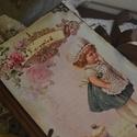 Vintage csajos receptfüzet , Naptár, képeslap, album, Konyhafelszerelés, Jegyzetfüzet, napló, Decoupage, transzfer és szalvétatechnika, Rendelésre készítek receptes könyvet A5- ös méretben szép rusztikus papírlapokkal,egyedileg köttete..., Meska
