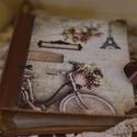 Vintage fotóalbum 200 képnek , Naptár, képeslap, album, Fotóalbum, Jegyzetfüzet, napló, Papírművészet, Nosztalgia hangulatú fotóalbumot késztettem, 10x15-ös képeknek, melyekből 200 db -ot helyezhetsz az..., Meska