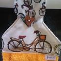 Konyhai kerekezés, konyhai törlő, Konyhafelszerelés, Mindenmás, Varrás, Két féle biciklis pamutvászon és frottír házasságának gyümölcse lett ez a kerékpáros konyhai törlő...., Meska