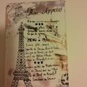 Párizs füzetborító, receptes könyv borítója, Naptár, képeslap, album, Naptár, Varrás, Borítója Párizs mintás textilből készült. Mérete: 13,5x19x3,5 cm. Használhatod receptes füzetnek, n..., Meska