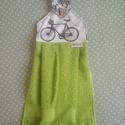 Kerékpáros konyhai törlő, Konyhafelszerelés, Kerékpár mintás pamutvászon és zöld frottír házasságából létrejött termék. , Meska