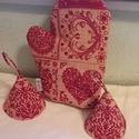 Skandináv stílus, , Varrás, Len hatású textilből készítettem ezt az edényfogó garnitúrát.  . Személyes átvétel Kispesten lehets..., Meska