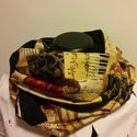 Muzikalisál, Ruha, divat, cipő, Kendő, sál, sapka, kesztyű, Sál, Amerikai dizájner puplinból készítettem. A fekete is hangjegy, mintás.  Mérete: cca: 140x26 cm  Szem..., Meska