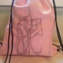 Két kicsiny balettcipő.... hátizsák, tornazsák, Táska, Hátizsák, Varrás, Rózsaszín erős vászonból transzfertechnikával készítettem a hátizsákot. Sokoldalúan használható, to..., Meska