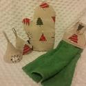 Karácsonyi edényfogó szett konyhai törlővel, Konyhafelszerelés, Edényfogó, Varrás, Len hatású anyagból készítettem  A szett tartalmaz:  1 db edényfogó  kesztyű 2 db  fülfogó  1 db ko..., Meska