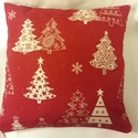 Karácsonyi párna, Otthon, lakberendezés, Dekoráció, Karácsonyi, adventi apróságok, Ünnepi dekoráció, Varrás, Különlegesen szép piros-fehér, fehér-piros fenyőmintás párna. A huzat egyik oldalal piros-fehér a m..., Meska