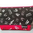 Zene-szeszer piros-fekete, Táska, Mindenmás, Neszesszer, Hangszer, zene, Piros-fekete dizájner hangjegymintás textilekből készült, kapott egy kis merevítést a jó tartás érde..., Meska