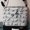 A zene az egy szerelem..... muzikalitáska, Táska, Válltáska, oldaltáska, Jól pakolható, kottás és fekete dekor textilből készült válltáska, mindennapi használatra...., Meska