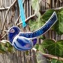 Boldogság kék üvegmadara, Húsvéti díszek, Otthon, lakberendezés, Üvegművészet, Tiffany technikával készült sötétkék  üveg madár üvegfesték és gyöngy díszítéssel. 11x6 cm, Meska