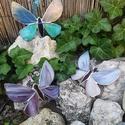 Nagy üveg pillangó, Otthon, lakberendezés, Dekoráció, Kerti dísz, Tiffany technikával készült 16 cm széles és 12 cm magas türkizkék és zöld üveg pillangó. ..., Meska