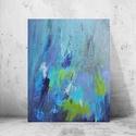 Felhőszakadás, Képzőművészet, Festmény, Akril, 50x70 cm méretű, absztrakt akrilfestmény a víz színeivel, amelyet egy nyári zivatar ihletett. ..., Meska