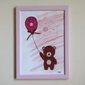 Virágos maci kép gyerekszobába, Baba-mama-gyerek, Dekoráció, Gyerekszoba, Kép, Festészet, Kislány szobába terveztem ezt a kedves macis képet rózsaszínű csipkés-lufis környezettel. Barátságo..., Meska