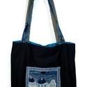 Farmer bevásárló táska Santorini blokkal, Használt farmerekből mosás és vasalás után k...