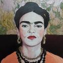 Frida Kahlo portré, Képzőművészet, Festmény, Akvarell, Festmény vegyes technika, Festészet, Fotó, grafika, rajz, illusztráció, Ezt az akvarell portrét fotó alapján festettem Frida Kahloról. Akvarell és akril festéket használta..., Meska