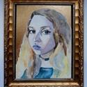 Portré festés, Képzőművészet, Festmény, Akvarell, Festmény vegyes technika, Festészet, Ezt a képemet egy kasírozott vászonra festettem, akvarell és arany akril háttérrel. Megrendelésre f..., Meska