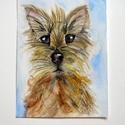 Kölyök kutya portré, Művészet, Grafika & Illusztráció, Fotó, grafika, rajz, illusztráció, Kiskutya tekintet mindenkinek,akvarell ceruzával,mini portré.18x24cm, Meska
