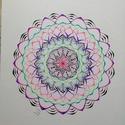 Mandala neon , Művészet, Grafika & Illusztráció, Fotó, grafika, rajz, illusztráció, Tűfilccel készült, saját tervezésű mandala. 30x40cm. , Meska