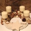 Beige-barna adventi koszorú, asztaldísz, karácsonyi dekoráció, Dekoráció, Ünnepi dekoráció, Karácsonyi, adventi apróságok, Karácsonyi dekoráció, Virágkötés, A szalma koszorút kötött anyaggal vontam be, elejére filc csillag került.Tobozzal, mogyoróval, dióv..., Meska