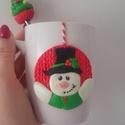 Hóember-szett, Dekoráció, Gyurma, Aranyos, hóemberes bögrét készítettem Fimo süthető gyurmával díszítve.Karaácsonyi hangulatban hozzá..., Meska