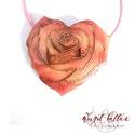 My Velentine - Rózsaszív tűzzománc medál, Ékszer, Medál, Nyaklánc, Finom, nőies szívbe zárt rózsa medál, rekeszzománc (cloisonné) technikával.  Kedvesnek Valentin-napr..., Meska