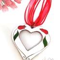 My Valentine - tűzzománc medál, Ékszer, Medál, Nyaklánc, Szimmetrikus szív alakú áttört tűzzománc medál, rusztikus tulipán mintával. Bőrzsinórra vagy organza..., Meska