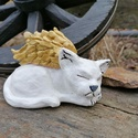 Kerámia angyal cica, Otthon & lakás, Képzőművészet, Szobor, Kerámia, 17+10cm.kézzel készült égetett kerámia cica, akril festékkel festve lakozzva. , Meska