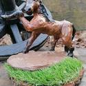 Kerámia ló, Otthon & lakás, Képzőművészet, Szobor, Kerámia, Kézzel készített égetett kerámia ló szobor. Mérete 23cm hosszú 20cm magas, Meska