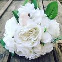 Bazsarózsás tartós csokor  , Esküvő, Esküvői csokor, Virágkötés, Bazsarózsából, és fehér rózsából készült ökörcsokor , mely örök emlék lehet egy fontos alkalomra.  ..., Meska