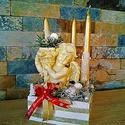 Klasszikus angyali asztali dekoráció, Karácsony & Mikulás, Adventi koszorú, Virágkötés, Klasszikus angyali asztali dekoráció A termék ára 4.500.-Ft/db magassága 25cm. Ácson személyesen át..., Meska