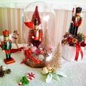Karácsonyi üvegbúra, Karácsony & Mikulás, Karácsonyi dekoráció, Virágkötés, Karácsonyi üvegbúra. Mesés régies karácsonyi hangulatot teremet 27 cm magas., Meska