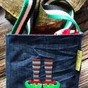 Karácsonyi farmer tároló dobozka-Varázs cipős, NoWaste, Otthon & lakás, Táska, Divat & Szépség, Dekoráció, Táska, Vidám hímzett mintával díszített karácsonyi farmer doboz. A mintát géppel hímzem rá a farmerra. Heve..., Meska