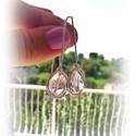 Hegyikristály fülbevaló , Ékszer, Nyaklánc, Csiszolt hegyikristályból készült fülbevaló ezüstözött ékszerdróttal. A szemek 10 mm nagyságúak, gyö..., Meska
