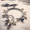 Extrém ékszerek 2., Ékszer, Gyűrű, Egyedi karkötő  ,   tenyésztett gyöngyök  és rozsdamentes acél anyacsavarok  kombója.antik f..., Meska