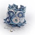 Extravagáns bohém karkötő , kék, árnyalatos, Ékszer, óra, Karkötő, Ékszerkészítés, Horgolás, A bohém kollekció  egyik különleges darabját látod,. Különösen munkaigényes darab. Színes fonalból,..., Meska