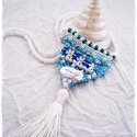 Extravagáns bohém nyaklánc , kék, Ékszer, óra, Nyaklánc, Ékszerkészítés, Horgolás, A bohém kollekcióm  egyik vidám darabját látod,.  Horgolással készült, színes virágokkal , gyöngyök..., Meska